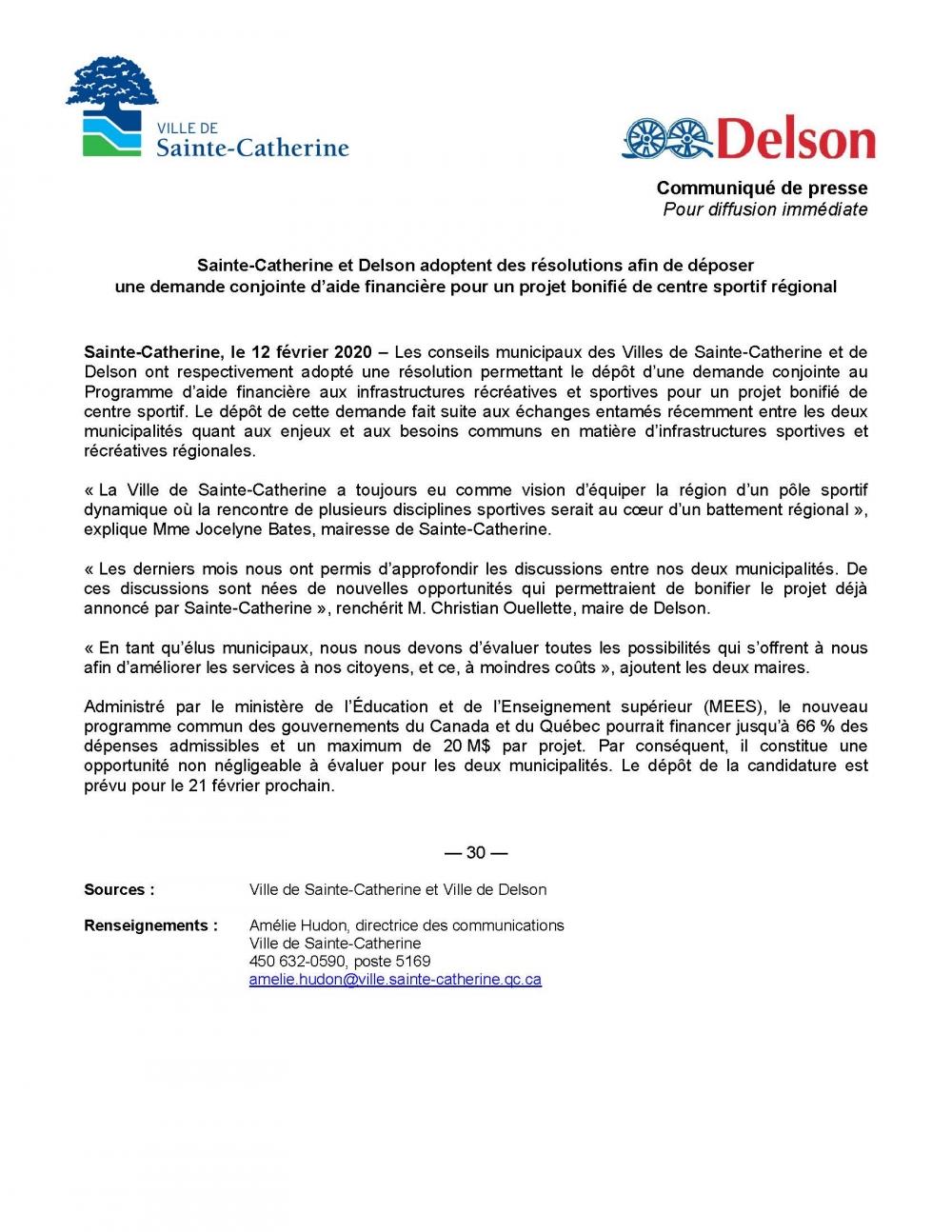 Sainte-Catherine et Delson adoptent des résolutions pour un projet bonifié de centre sportif régional
